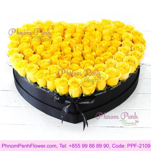 100 Yellow Rose Large Heart-shaped Box - PPF-2108