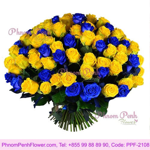 101 yellow and blue roses bouquet – PPF-2108