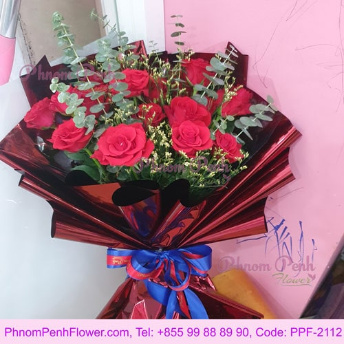 16 Red Roses Hand Bouquet - PPF-2112