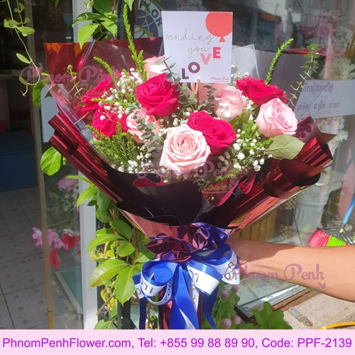 24 Hot & light pink rose bouquet - PPF-2139