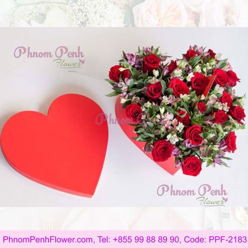 24 Red Rose Heart Box - PPF-2183