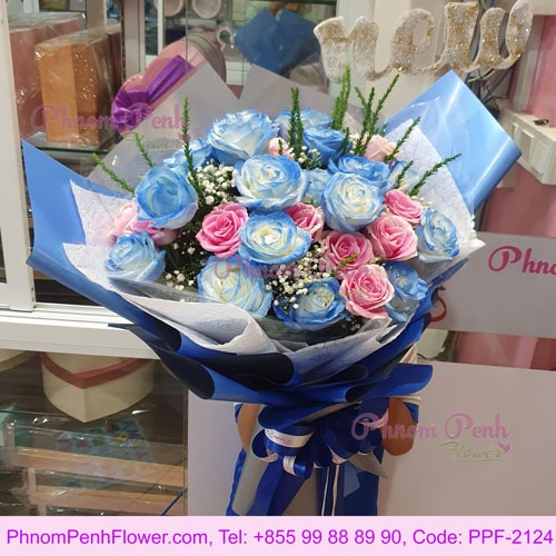 36 Pink & Blue Rose bouquet– PPF-2124