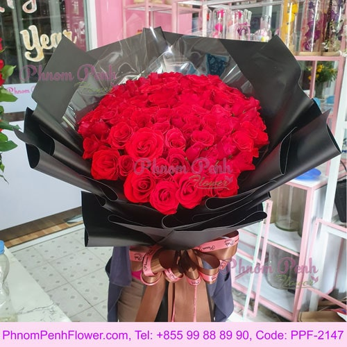 52 Premium Red Roses bouquet – PPF-2147