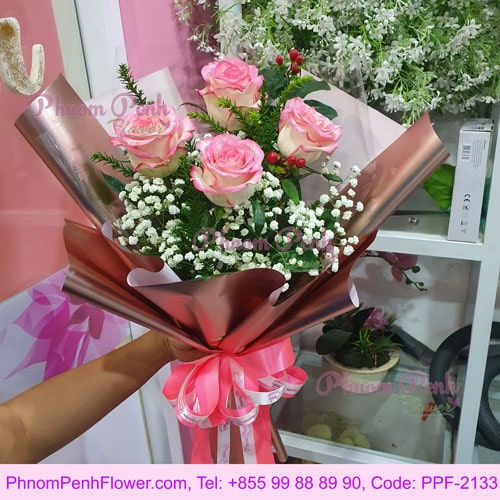 6 Pink Rose bouquet