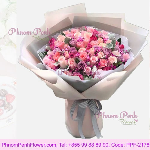 99 Rose bouquet in bright color– PPF-2178