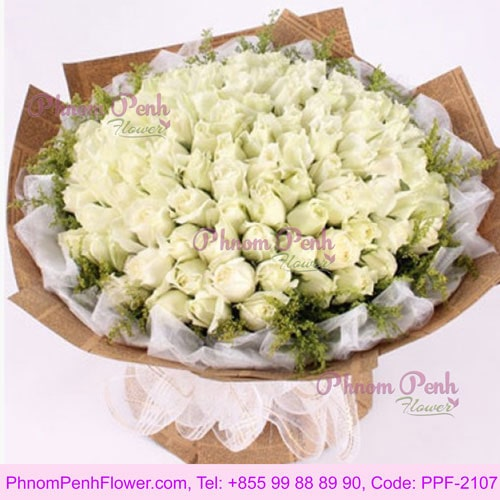 99 White rose bouquet – PPF-2107