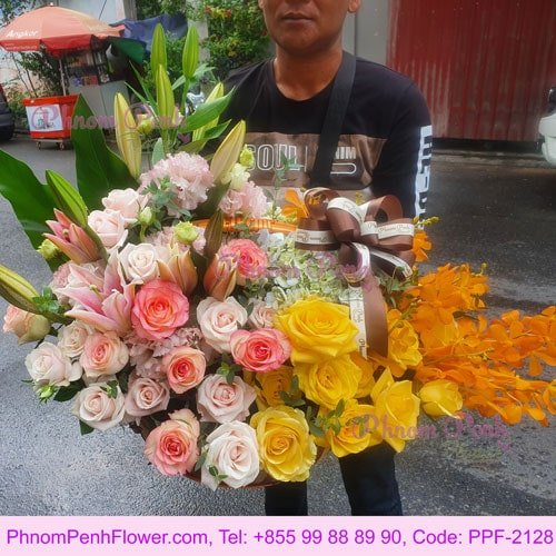 Basket of mixed rose & orchid -PPF-2128