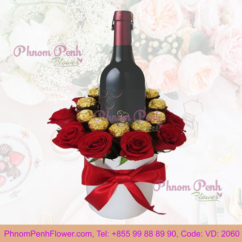 Roses, Red wine and Chocolate Gift Box - VD-2060