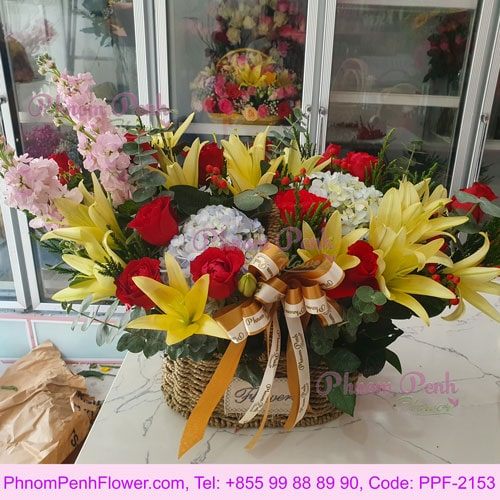 Bright - Red Roses & Yellow Lilies Basket - PPF-2153