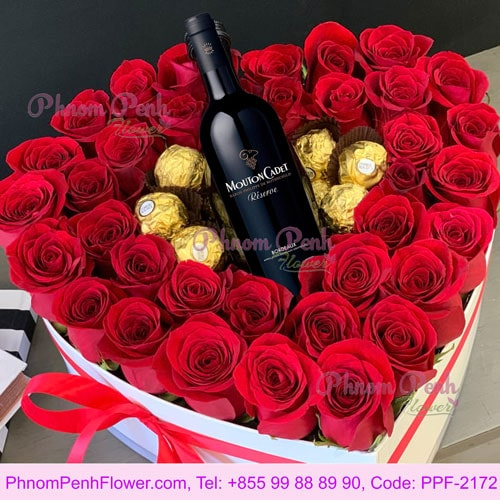 Gift heart box with rose, chocolate & wine - PPF-2172