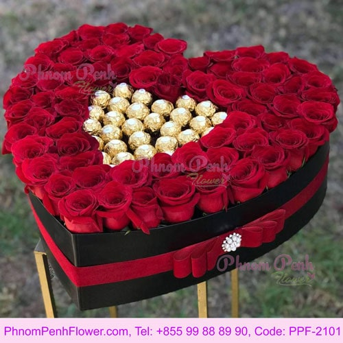 Heart Box with Roses and Chocolate flower box