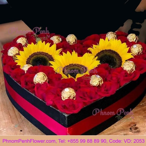 Heart Shaped Choco-Flower box - VD-2053