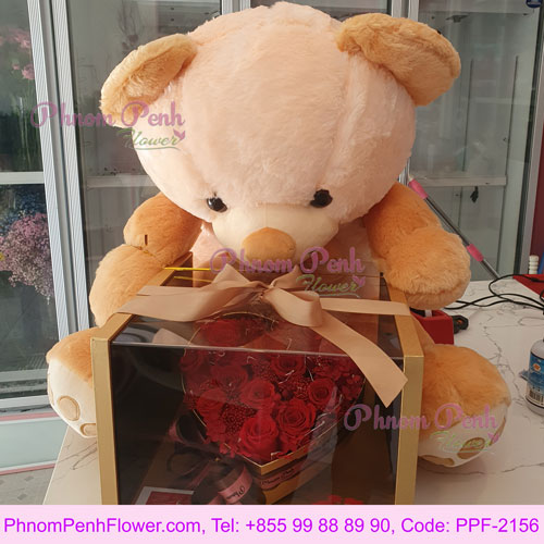 Heart box with teddy bear - PPF-2156