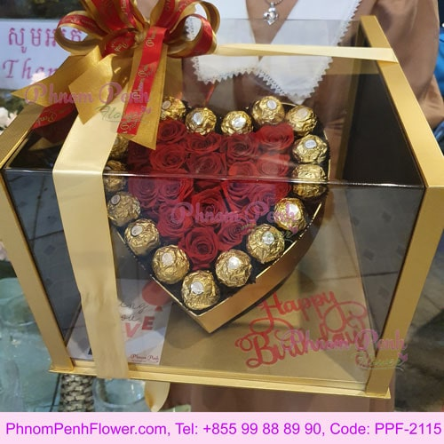 Heart chocolate & red roses in box - PPF-2115