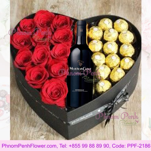 Heart shape of wine, rose & chocolate - PPF-2186