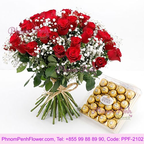In full bloom the love 36 red roses in bouquet - PPF-2102