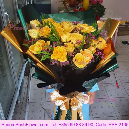 Passion for 24 yellow roses - PPF-2135