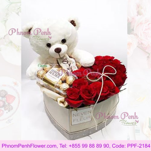 Red Roses Box, Teddy Chocolates as Gift - PPF-2184