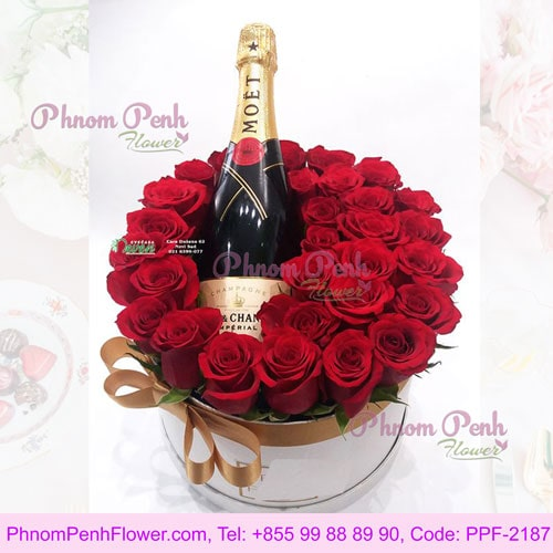 Red roses and champagne - PPF-2187