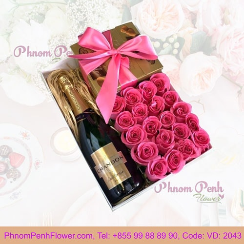 Roses, Champagne and Chocolate Gift Box - VD-2043