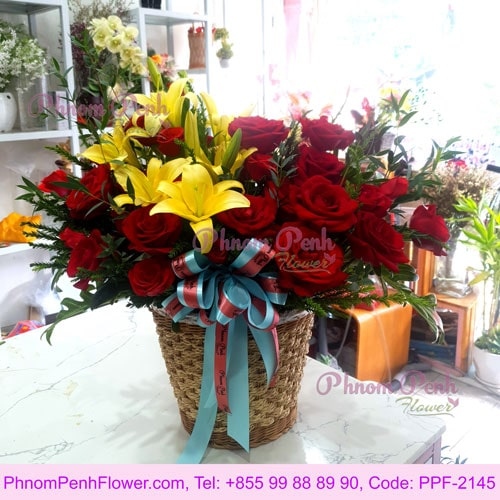Rose & yellow lily basket - PPF - 2145