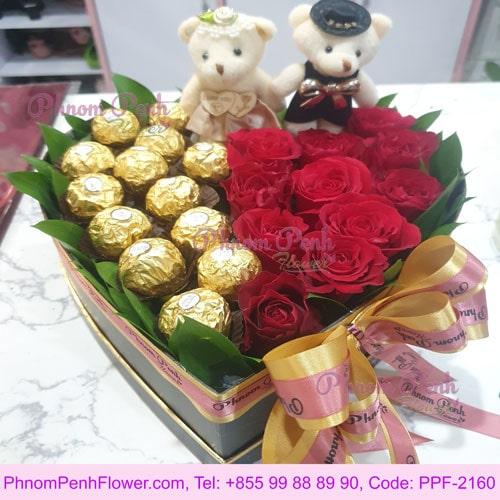 Sweet Couple flower box - PPF-2160