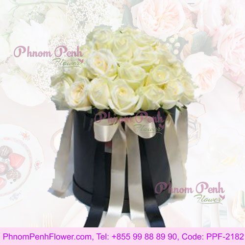 White Roses in a Round Box - PPF-2182