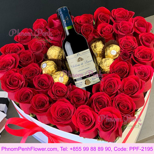 Gift heart box with rose, chocolate & Red wine - PPF-2195